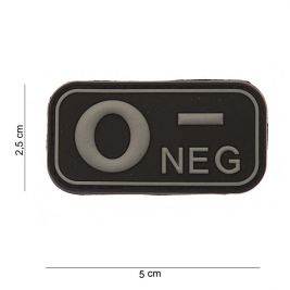 Patch 3D PVC groupe sanguin O- Noir - 101 Inc