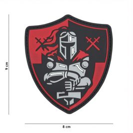 Patch 3D PVC Bouclier chevalier rouge - 101 Inc