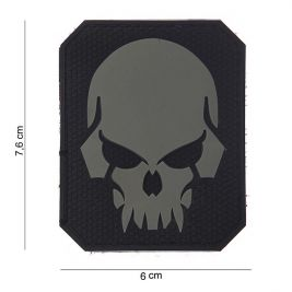 Patch 3D PVC Pirate Skull Gris - 101 Inc