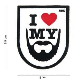 Patch 3D PVC I Love My Beard Blanc - 101 Inc