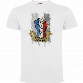 Tee-shirt FRENCH POWER Blanc - Army Design by Summit Outdoor