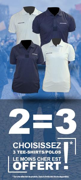 2=3 choisissez 3 tee-shirts/polos le moins cher est offert