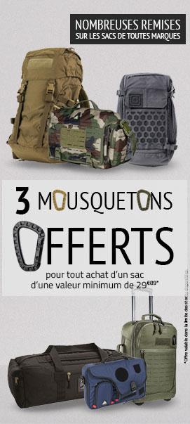 3 mousquetons offerts pour l'achat d'un sac